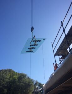 Skylight being dropped in