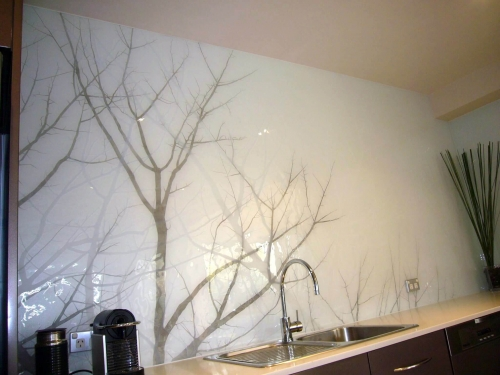 Carved Tree Splashback painted